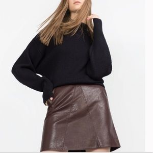Zara Faux Leather Mini Skirt SZ S